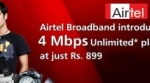 Airtel Unleashes 4 Mbps Unlimited Broadband at Rs. 899