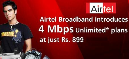 Airtel Unleashes 4 Mbps Unlimited Broadband at Rs. 899 airtel unleashes 4 mbps unlimited broadband at rs 899,Airtel Home Broadband Plans