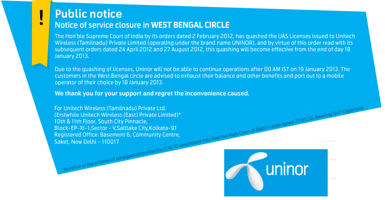 uninor-shutdown-kolkata