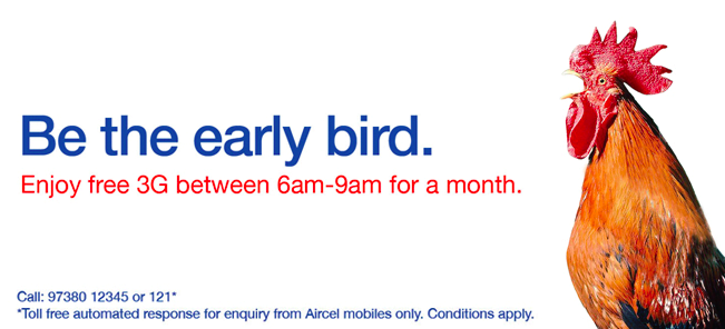 Aircel Free Unlimited 3G 6-9AM
