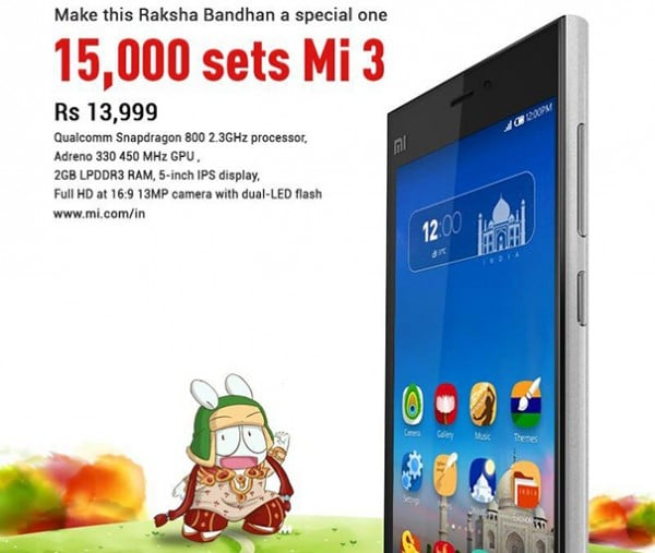 Flipkart-to-put-15000-units-of-xiaomi-mi3-for-sale-on-Aug-5-2014