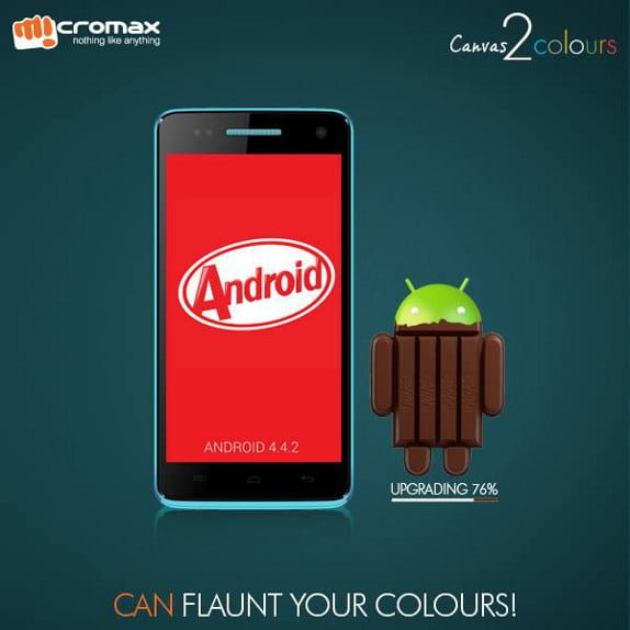 Micromax Canvas 2 COlors A120 Android KitKat Update