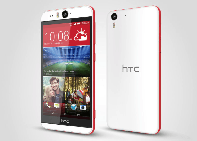 HTC Desire EYE White Red Front & Back