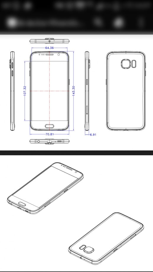 Samsung Galaxy S6 DImensions Leaked Schematic Diagram